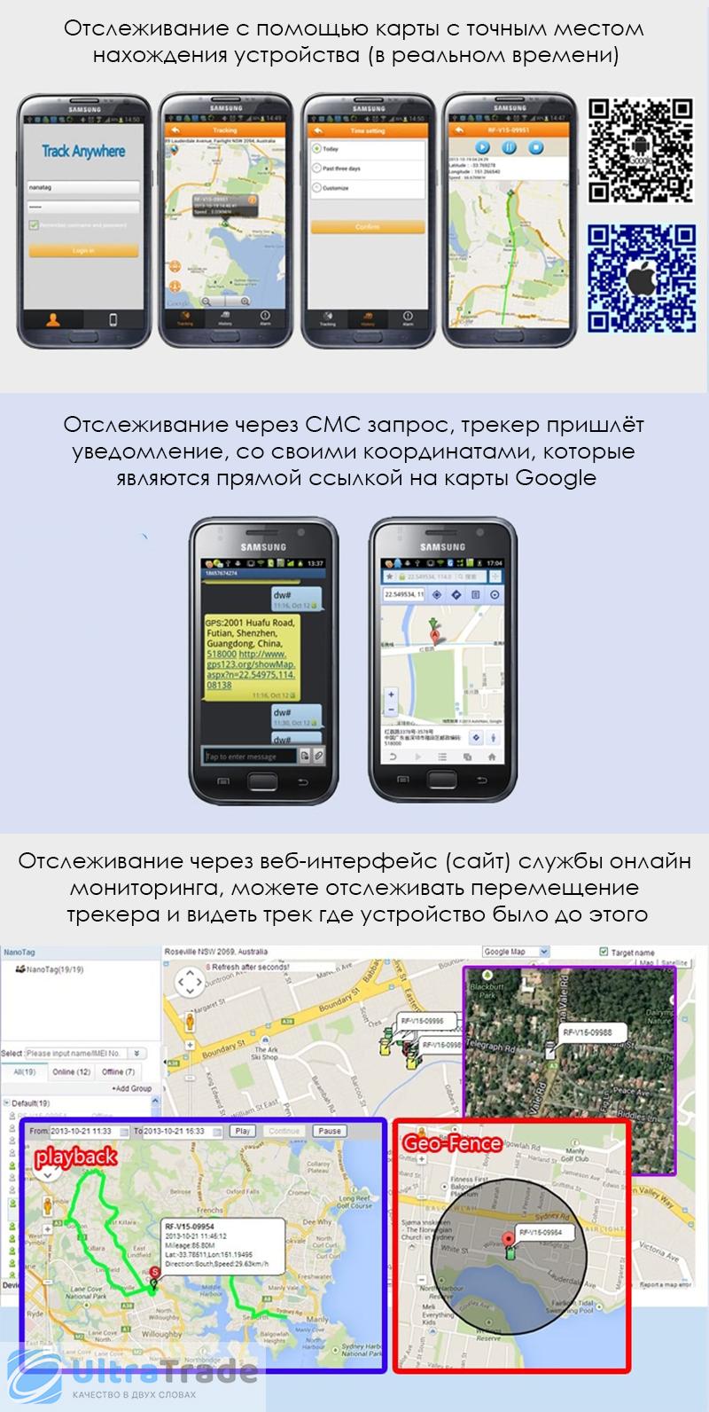 Детский мини GPS трекер/GPS маяк Reachfar RF-V16 Black