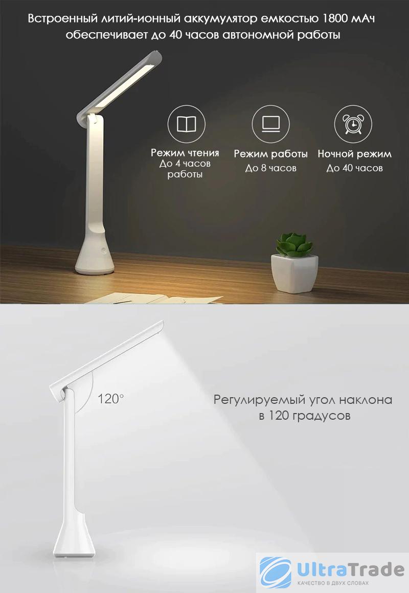 Беспроводная складывающаяся настольная лампа Yeelight Rechargeable Folding Desk Lamp White (YLTD11YL)