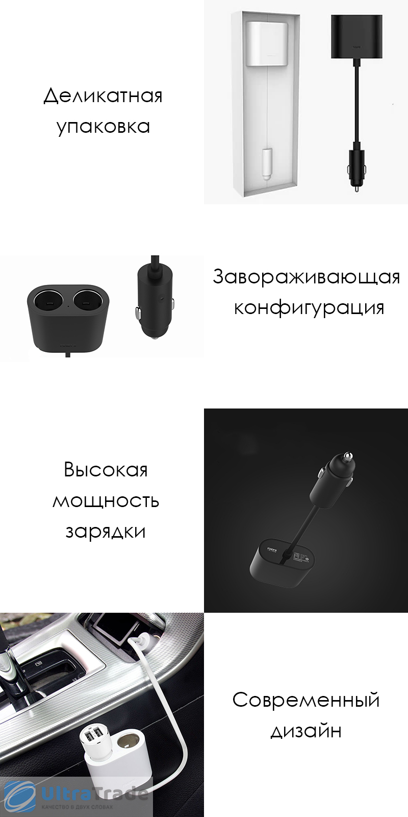 Разветвитель прикуривателя на два гнезда Xiaomi Roidmi Car Cigarette Lighter Splitter 35 cm Black (DYQ01RM)