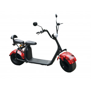 Электроскутер Citycoco Красный Огонь (Максимальный комплект) + съёмный аккумулятор 20Ah мотор 1500W
