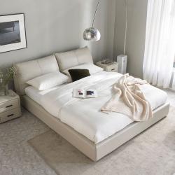 Двуспальная кровать с подъемным механизмом Xiaomi Yang Zi Look Souffle Leather Storage Bed 1.5 m Light Grey